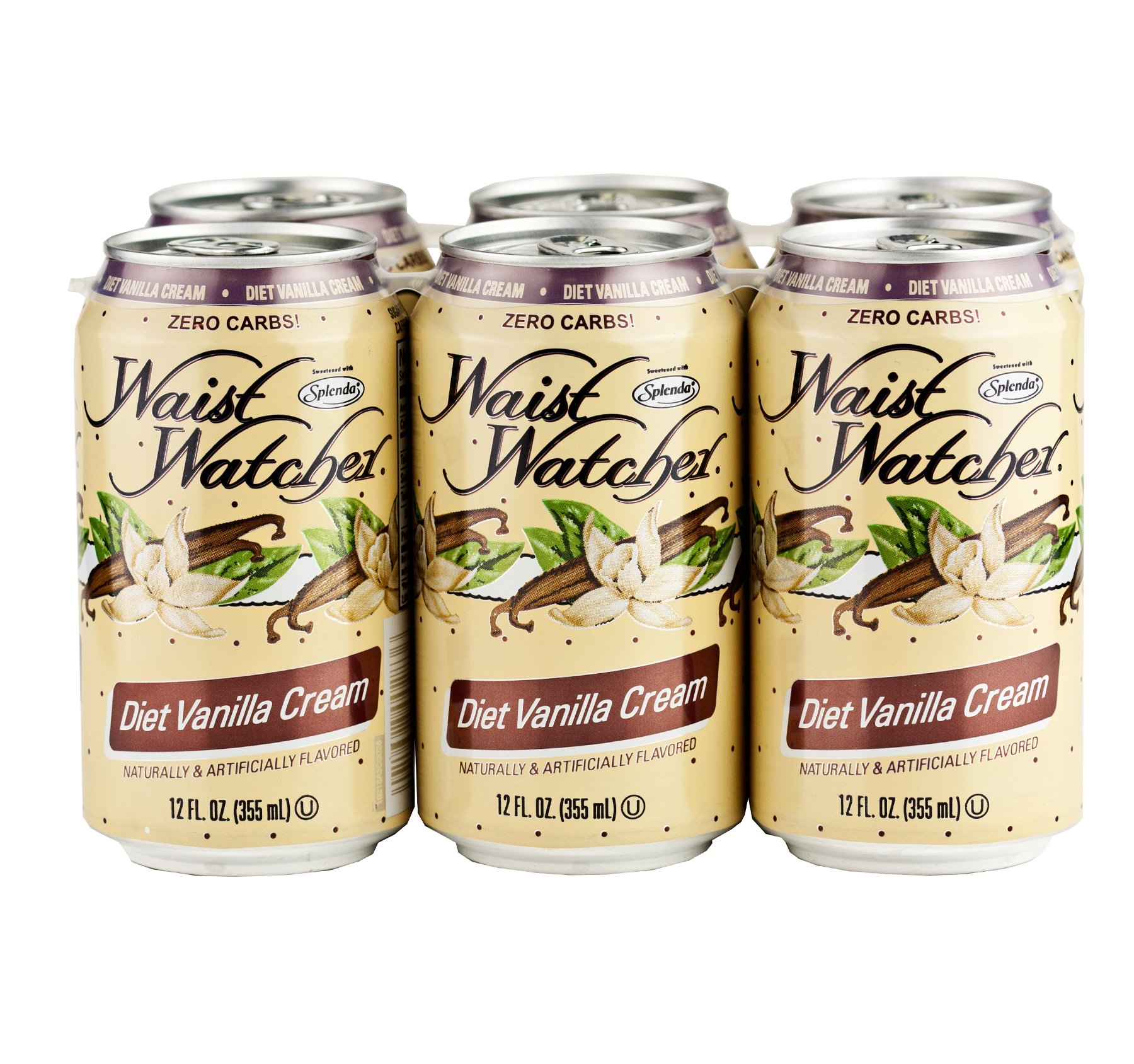 Waist Watcher Caffeine-Free Diet Vanilla Cream Soda, 12 Oz. Cans (One 6-Pack)