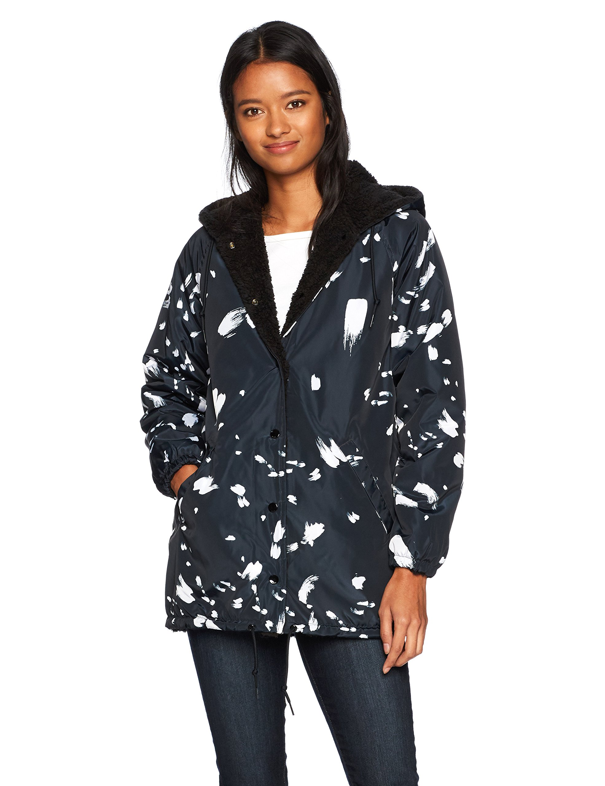 Obey Junior's Kendall Sherpa Hooded Coaches Jacket, Black/Multi, L