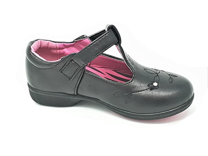 Girls School Smart Shoes strap-over black patent  CHIX 10,11,12,13,1,2 NEW