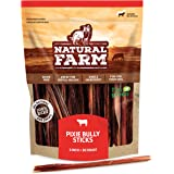 "Natural Farm Pup 6"" Pixie Bully Skin Sticks (30 & 50-Pack), Extra-Thin, Hollow, Fast Chewing Pet Treats - Grain-Free…"