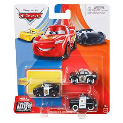 Disney Cars Mini Racers Sheriff Deputies Series 3-Pack Officer Lightning McQueen, APB, and Sheriff: Toys & Games