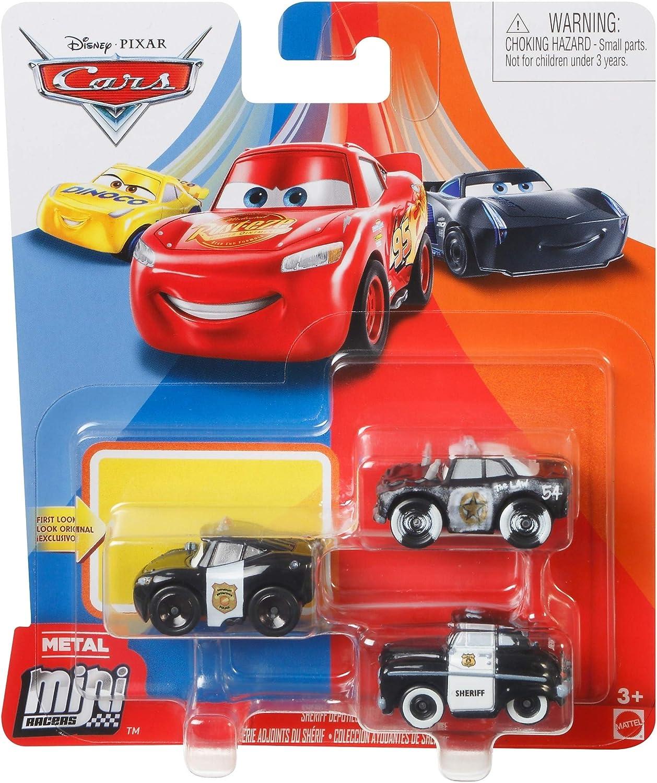 Disney Pixar Cars - Mini Racers 3 Pack - APB, Sheriff and Officer Lightning Mcqueen