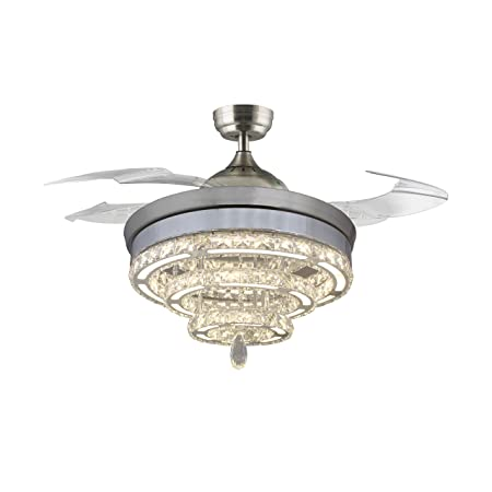 46 Crystal Rings Ceiling Fans 40W LED,with 4 Acrylic Retractable Blades Dimmable and Remote Control, Chrome Finish