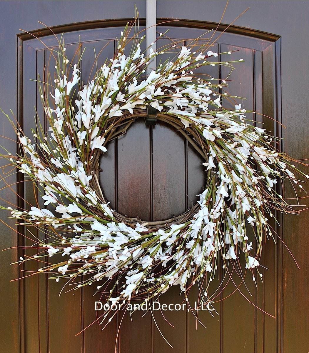 Amazon Com White Forsythia Spring And Summer Wreath For Front
