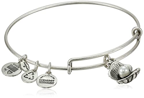 "Alex and Ani Bangle Bar ""Oyster and Pearl"" Rafaelian Silver-Tone Expandable Bracelet, 7.75"""