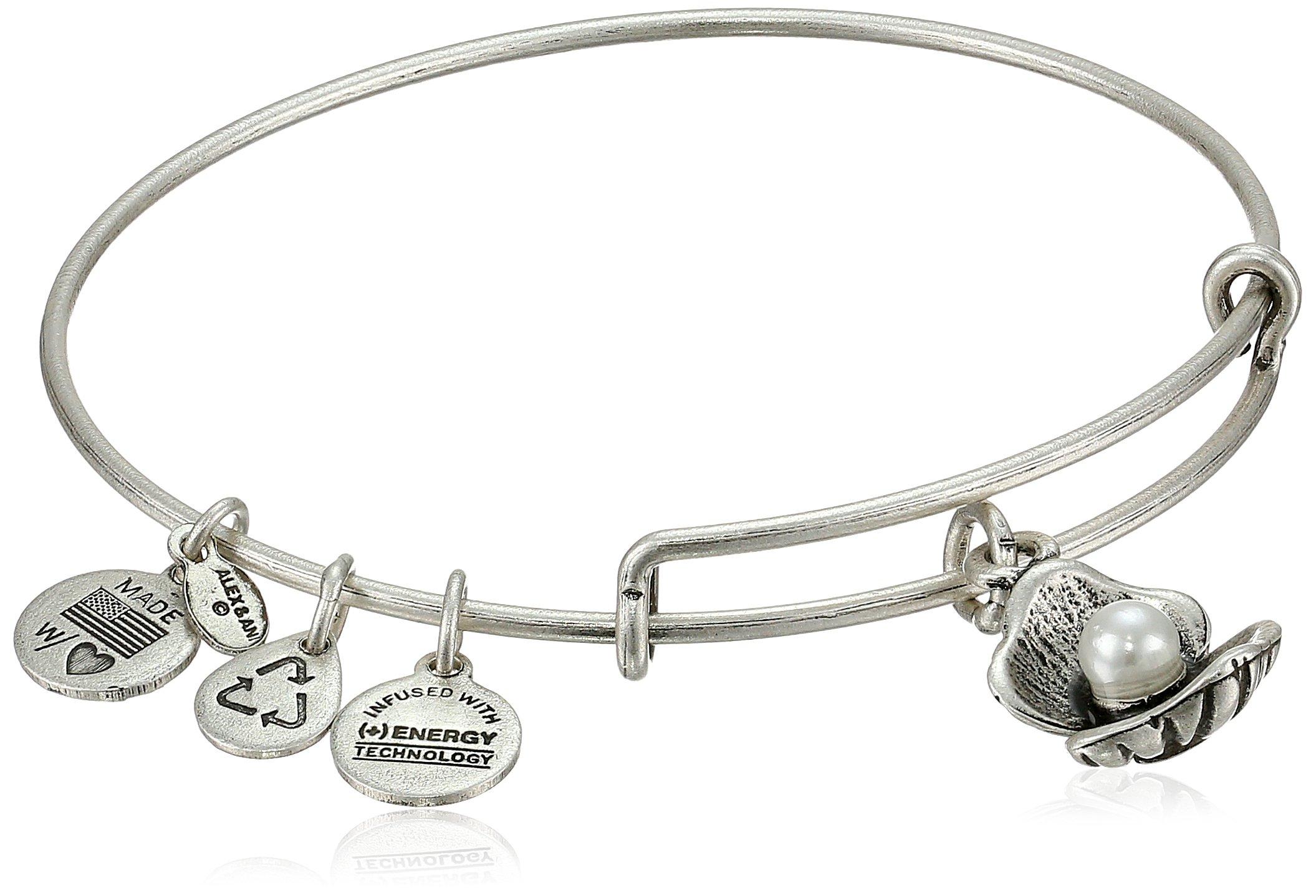 Alex and Ani Bangle Bar Oyster and Pearl Rafaelian Silver-Tone Expandable Bracelet, 7.75''