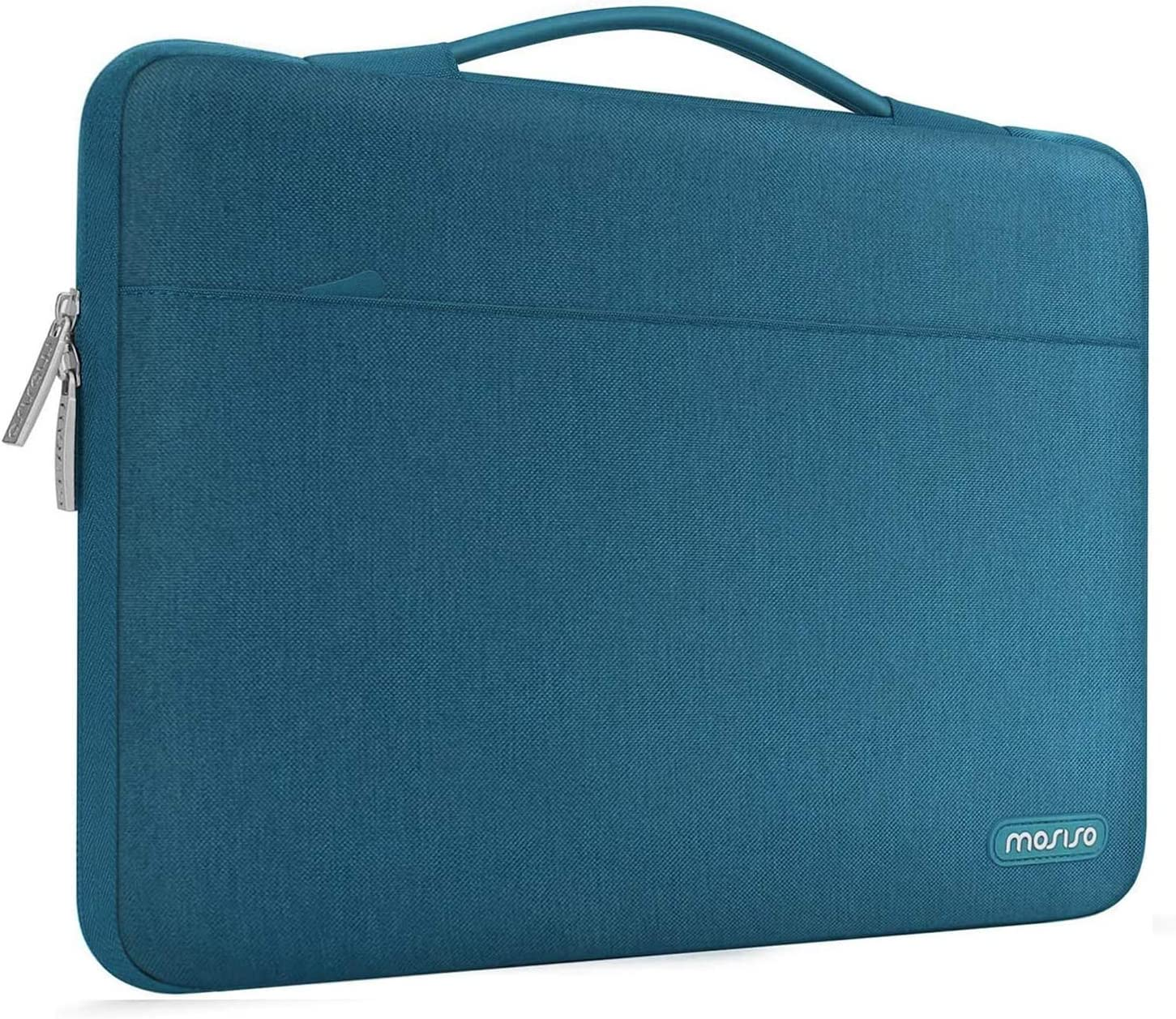 MOSISO Laptop Sleeve 360 Protective Case Bag Compatible with MacBook Pro 16 inch,15 15.4 15.6 inch Dell Lenovo HP Asus Acer Samsung Sony Chromebook,Polyester Briefcase with Trolley Belt, Deep Teal