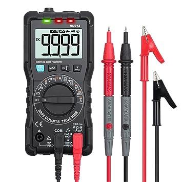 ESYNIC Digital Multimetro 9999 cuentas TRMS Auto Range Detector NCV DC Voltaje de CA Medidor de Corriente Capacitancia Diodo y Probador de Continuidad: ...