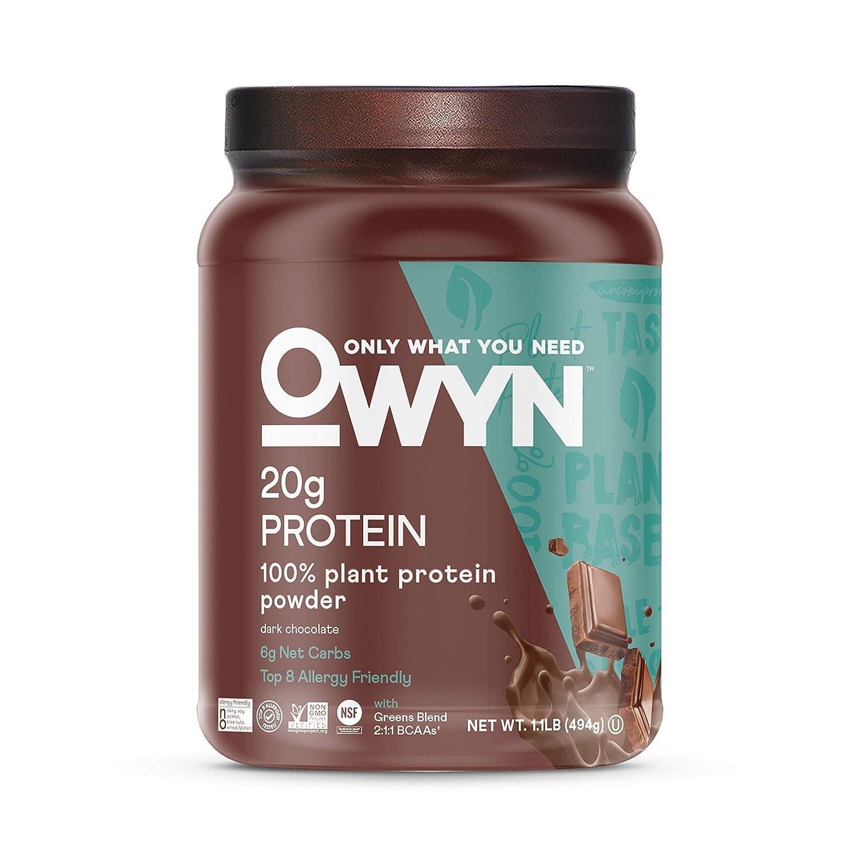 OWYN - 100% Vegan Plant-Based Protein Powder | Dark Chocolate 1.17 lb Tub | Dairy-Free, Gluten-Free, Soy-Free, Allergy-Free, Vegetarian