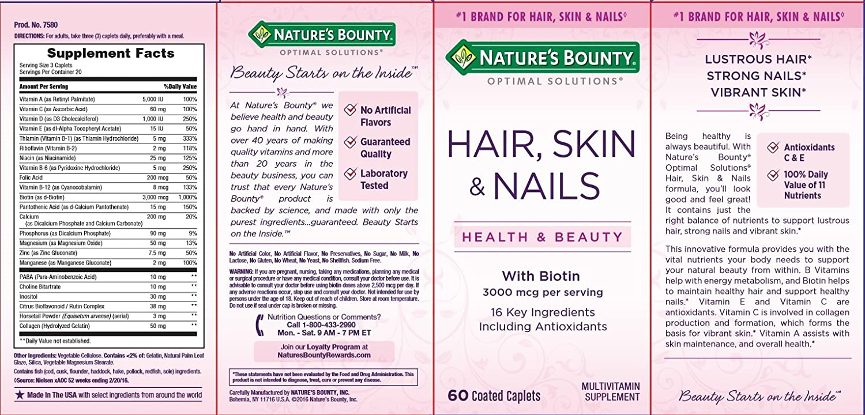 Amazon.com: Nature\'s Bounty Optimal Solutions Hair, Skin & Nails ...