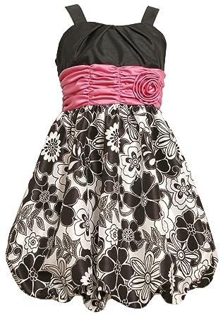 9d936ce440c Amazon.com: Bonnie Jean Big Girls Plus Black White Shirred Waist Floral  Bubble Dress, Black, 12.5: Special Occasion Dresses: Clothing