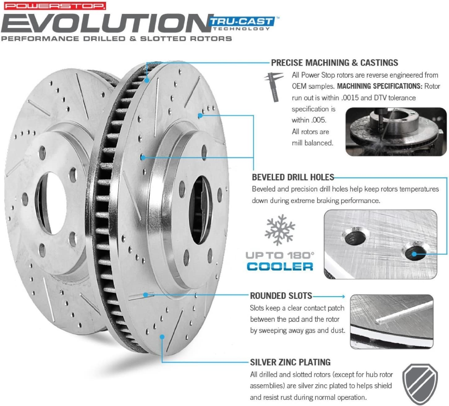 Power Stop K693 Front and Rear Z23 Evolution Brake Kit with Drilled//Slotted Rotors and Ceramic Brake Pads