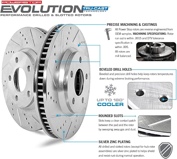 Power Stop K5894 Front Z23 Evolution Kit with Drilled//Slotted Rotors and Ceramic Brake Pads