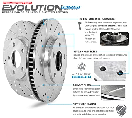 Power Stop K4485 Front and Rear Z23 Evolution Brake Kit with Drilled//Slotted Rotors and Ceramic Brake Pads