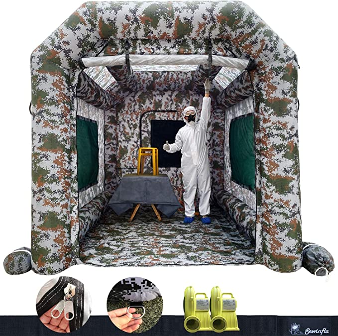 10 x 5 x 4 M Inflatable Paint Booth 33x16.5x13FT with 2 Blowers Inflatable Spray Booth with Filter System Portable Car Paint Booth for Car Parking Tent Workstation