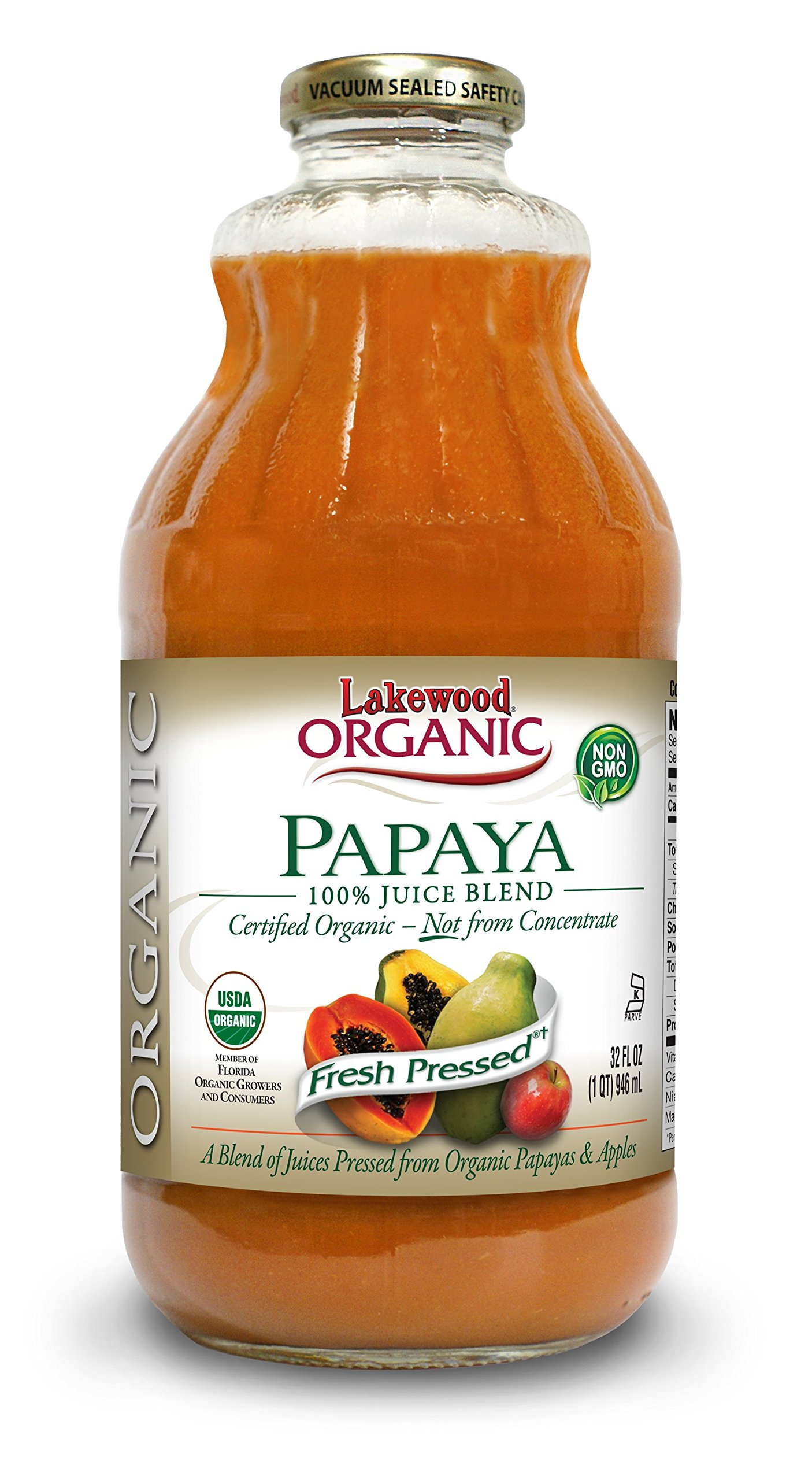 Lakewood Organic Papaya Juice, 32-Ounce Bottles (Pack of 6)