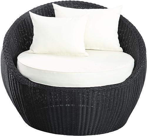 LexMod Luna Espresso Patio Chair with White Cushions