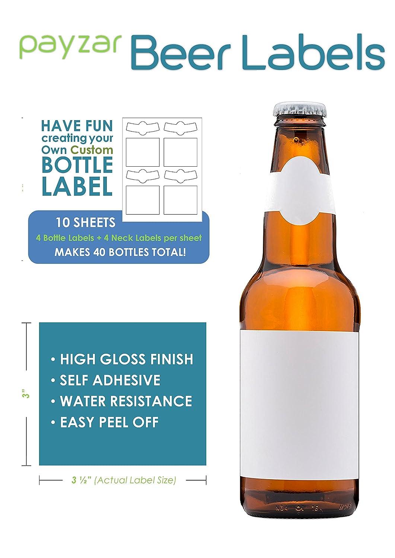 Payzar Blank Beer Bottle Labels - 40 pack - Water Resistant, Vinyl, For InkJet Printers