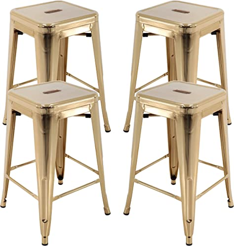 Vogue Furniture Direct 24 Barstools Backless Metal Barstool Indoor-Oudoor Counter Height Stool with Square Seat 4, Gold