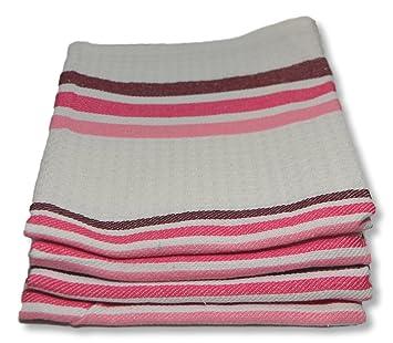 Fine Quality Waffle Weave Kitchen Towels Dish Cloth 4 Pack, 100% Cotton Tea