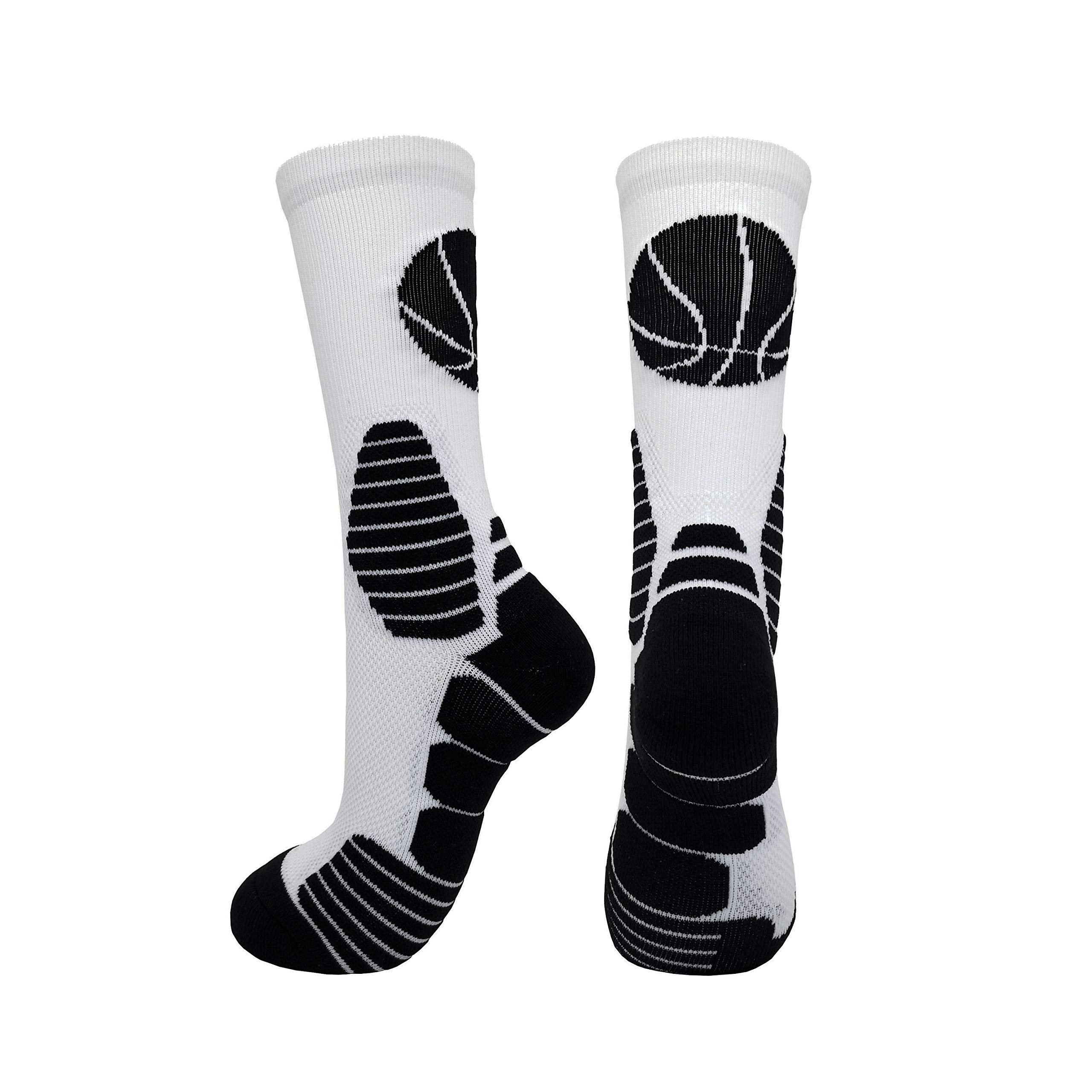 2 Pairs PK Elite Basketball Socks Dri-Fit Crew Sports Athletic Socks for Boy Girl Men Women (White/Black X 2PK, M) by HIGHCAMP