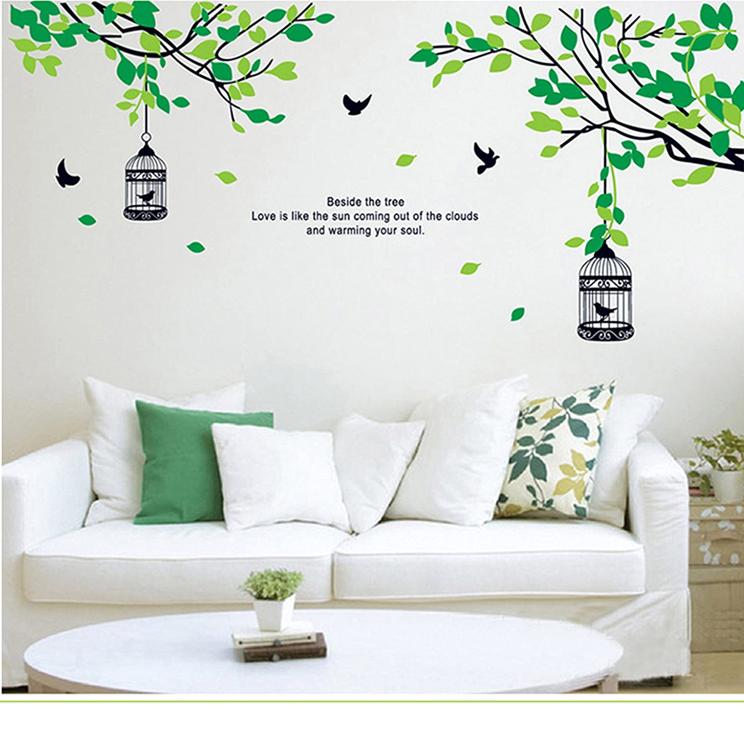 Goldencart nature wall stickers calm green trees birds nest w a heart warming quotation for bedrooms living room w nature theme to glorify the