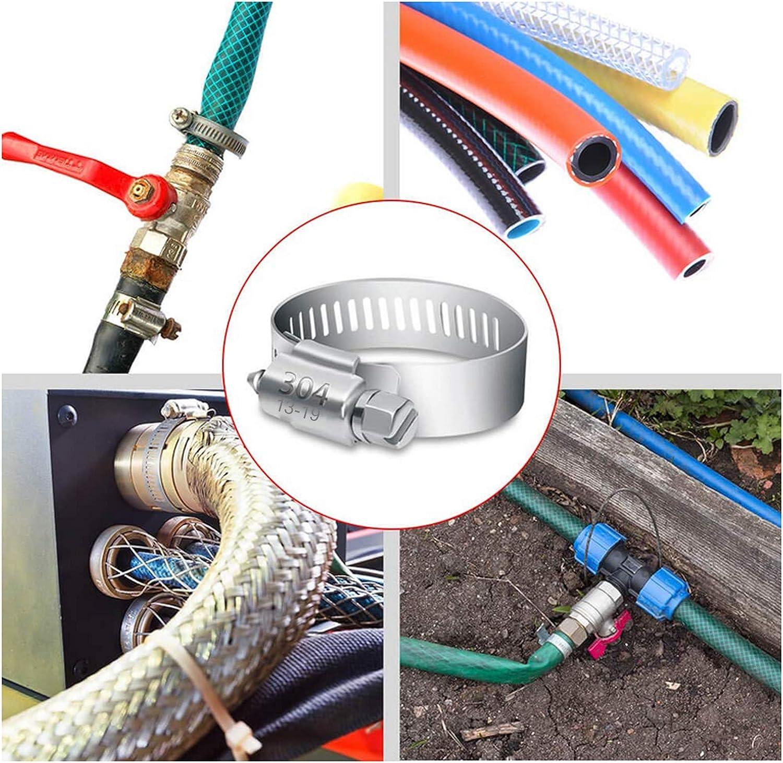 tube dautomobiles Ruesious Tuyau Clips pour famille Tuyau deau etc. r/éservoir de gaz 40 pi/èces r/églable 13-19 mm Gamme en acier inoxydable Colliers de serrage