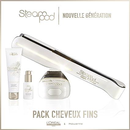 L Oreal – Pack Steampod 2.0 – Alisador de cabello vapor nueva generación + Sérum + leche de alisar cabello finos