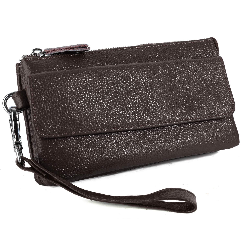YALUXE Women's Leather Smartphone Wristlet Crossbody Clutch with RFID Blocking Card Slots Coffee