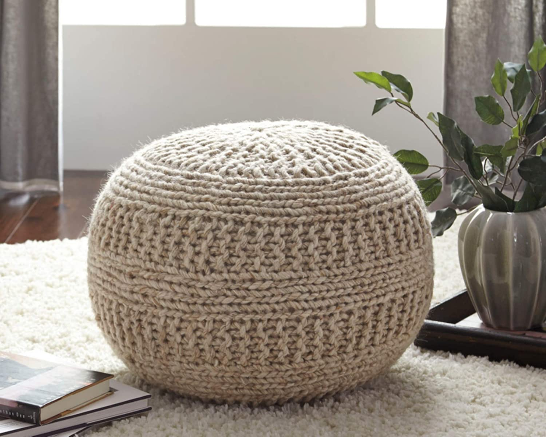 Benedict Pouf Natural A1000558 Handmade Rib Knit Ashley Furniture Signature Design Comfortable Ottoman /& Footrest