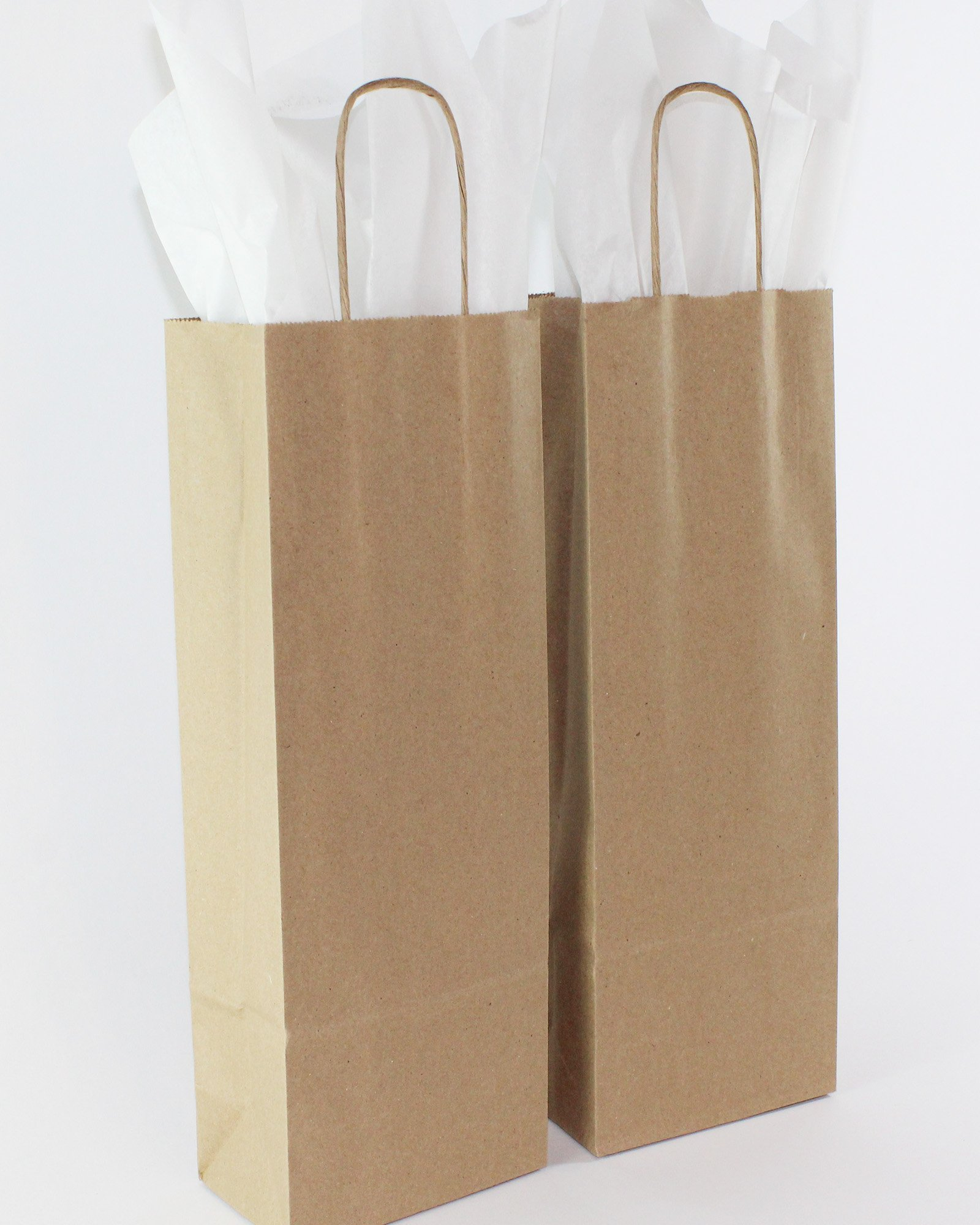 Saybrook Products Kraft Paper Wine Bags Handles & Tissue Paper, Bulk 50 Pack. Premium Quality, 100% Recycled, Eco-Friendly, Reusable. Made in USA.5½ x 3¼ x13 inches. Brown