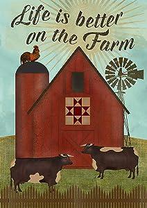 "Toland Home Garden 1012214 Better on The Farm 28 x 40 Inch Decorative, House Flag (28"" x 40"")"