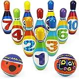 iPlay, iLearn Kids Bowling Toys Set, Toddler Indoor Active Play Game, Soft 10 Foam Pins & 2 Balls, Development, Birthday Part