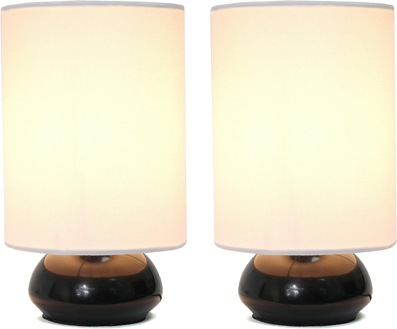Simple Designs Home LT2043-BLK-2PK Simple Designs Gemini Colors 2 Pack Mini Touch Table Lamp Set with Fabric Shades, Black Gemini Colors 2 Pack Mini Touch Table Lamp Set with Fabric Shades, Blackblack