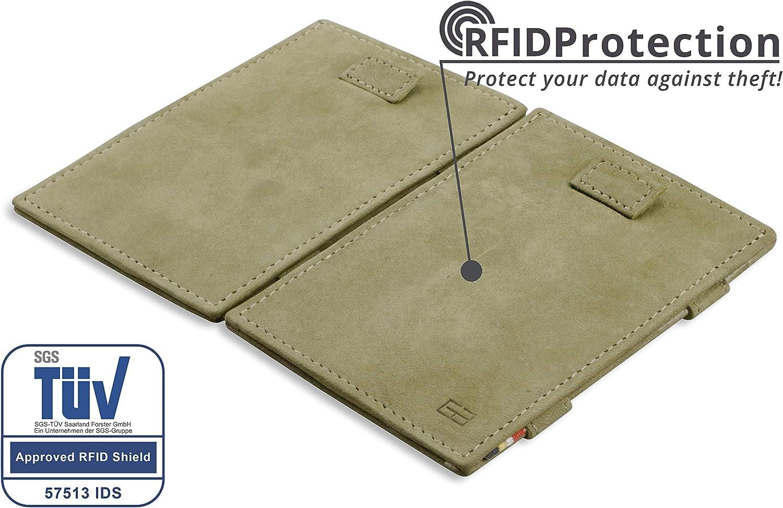 Cartera m/ágica de Cuero aut/éntico Minimalista Delgada Garzini con Bloqueo RFID Ranuras para Tarjetas y leng/üeta para Hombre