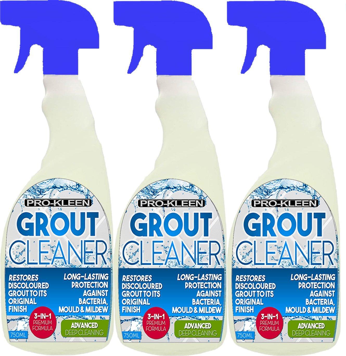 3 x 750ml Pro-Kleen Tile Grout Cleaner Restorer Reviver for Kitchen and Bathroom