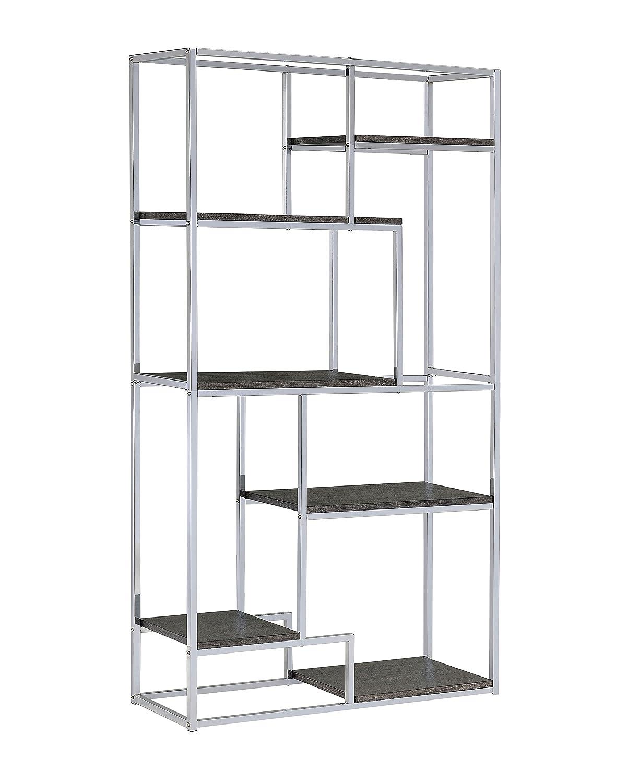 Furniture of america corley contemporary 6 shelf bookcase champagne