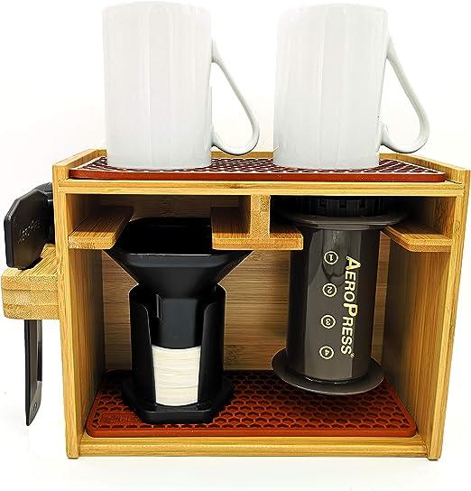 HEXNUB Soporte Organizador de bambú Premium para cafetera ...