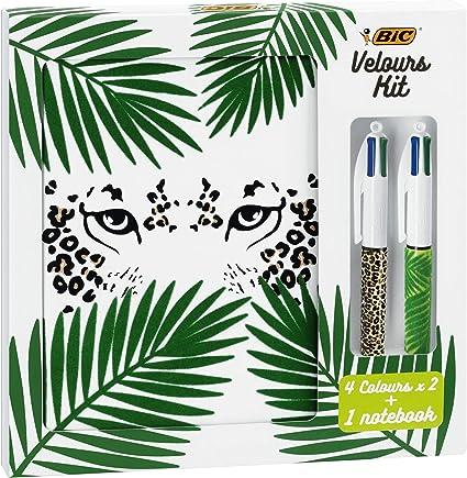 BIC Velours Kit - Libreta A5 con 3 Bolígrafos 4 Colores Jungla y ...