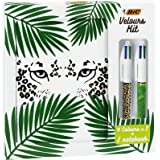 BIC Velours Kit - Stationery Kit with BIC 4 Colours Ball Pens Jungle and Leopard/1 Blank Notebook A5 Size, Gift Box of 3…