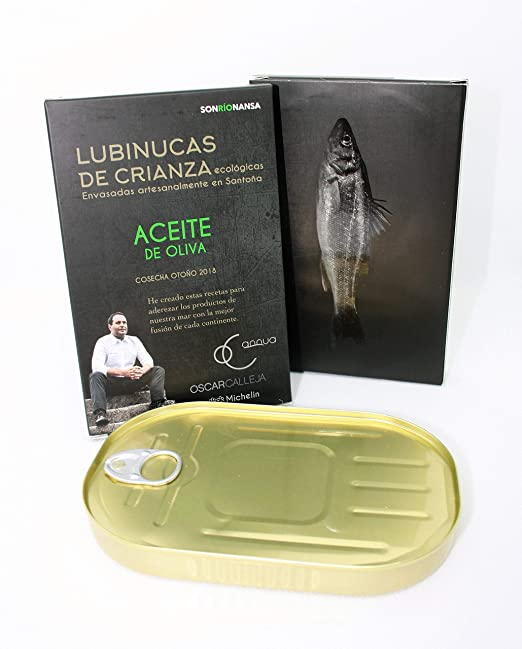Conserva Gourmet de Lubina de crianza ecológica en salsa mexicana de Chipotle&Tamarindo, Envasado en Santoña, Receta Dos Estrellas Michelin - 133 gr: ...