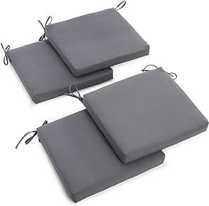 Blazing Needles Twill 19-Inch by 20-Inch by 3-1/2-Inch Zippered Cushions, Steel Grey, Set of 4