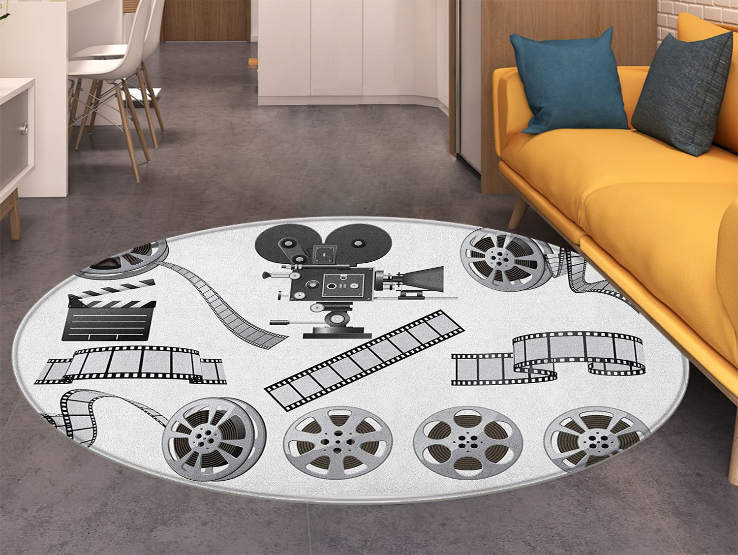 Movie Theater Round Area Rug Carpet Movie Industry Themed Greyscale Illustration of Projector Film Slate and Reel Living Dinning Room and Bedroom Rugs Grey Black by also easy