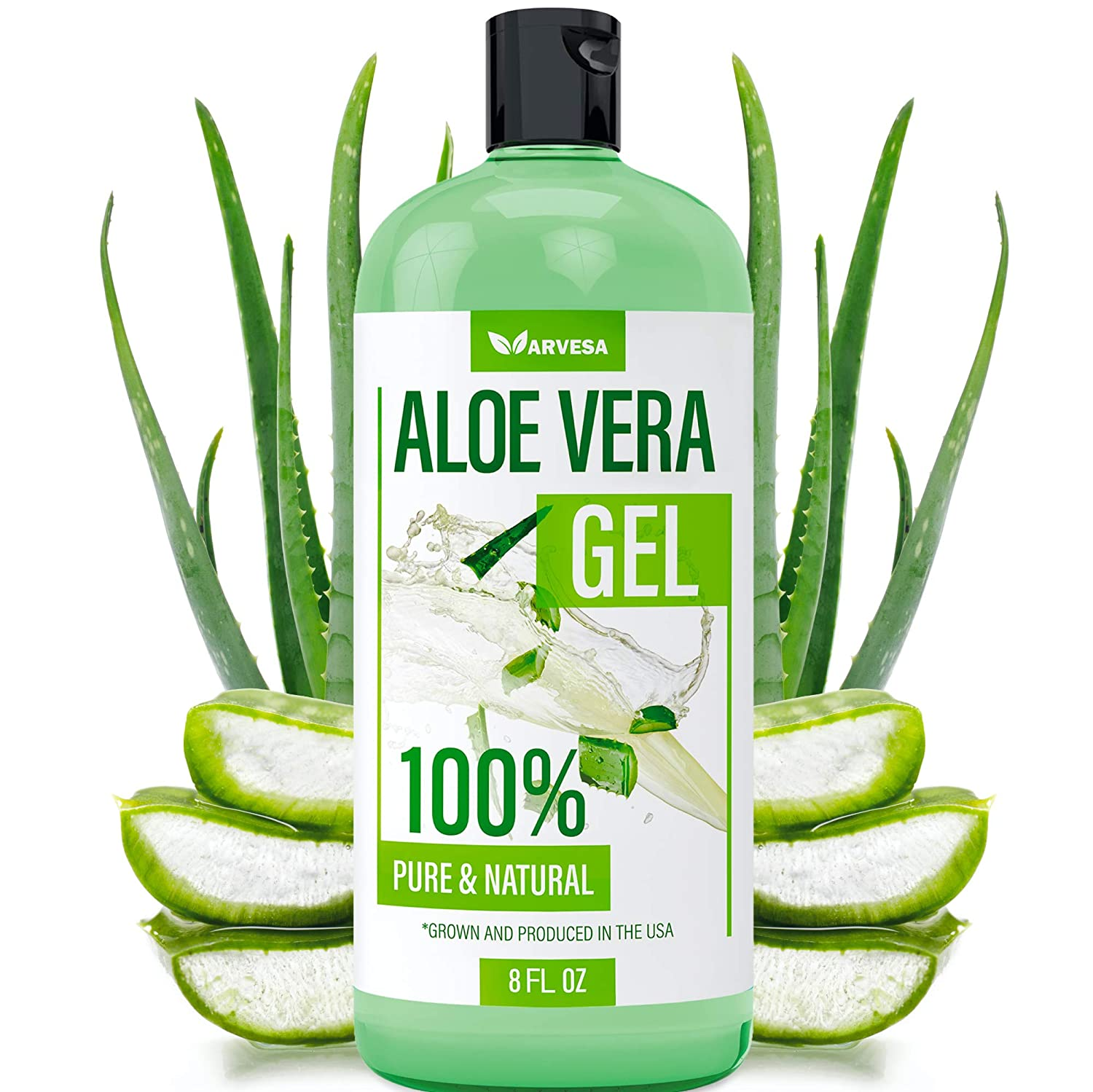 Aloe Vera Gel - 100% Aloe Vera Gel for Moisturizing Skin, Face and Body After Sun Care - Soothing Aloe Lotion for Sunburn, and Acne, Naturally Grown in the USA - Non Sticky - 8 oz
