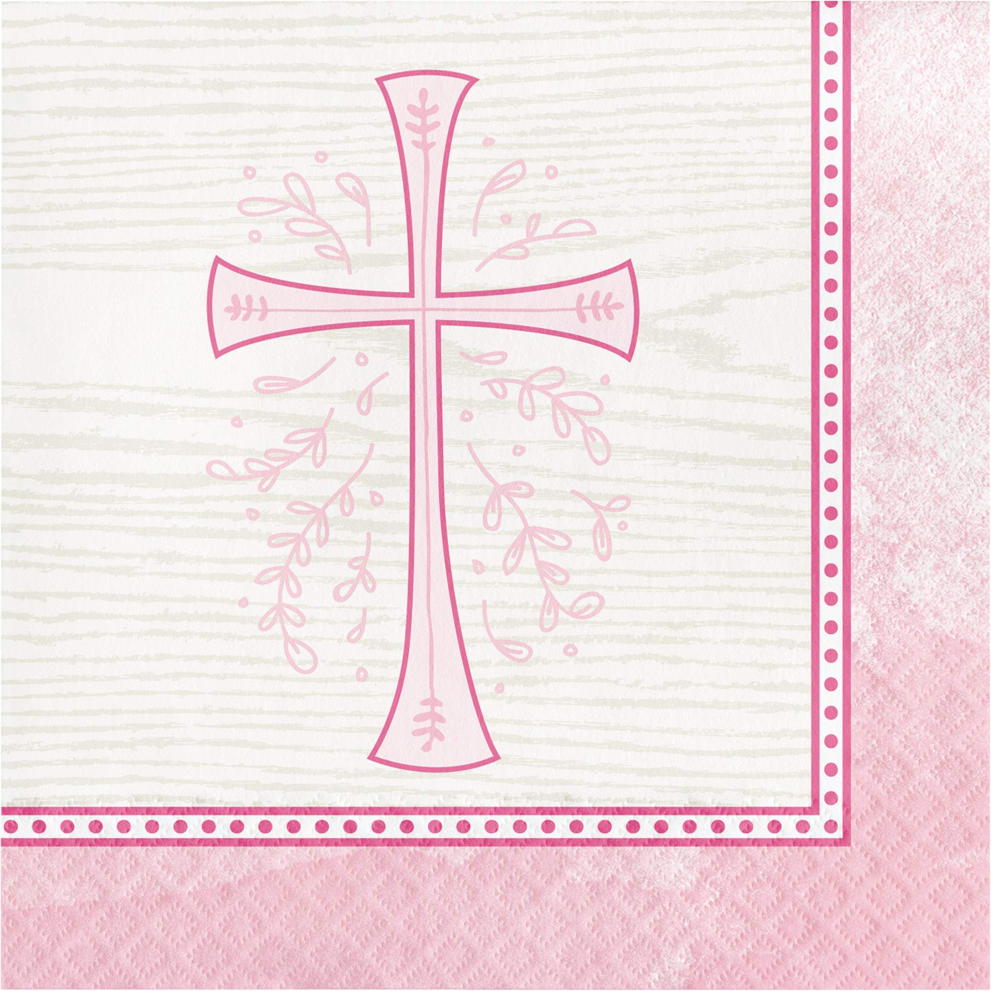 Club Pack of 192 Pink and Beige Divinity Themed 2-Ply Luncheon Napkins 6.5''