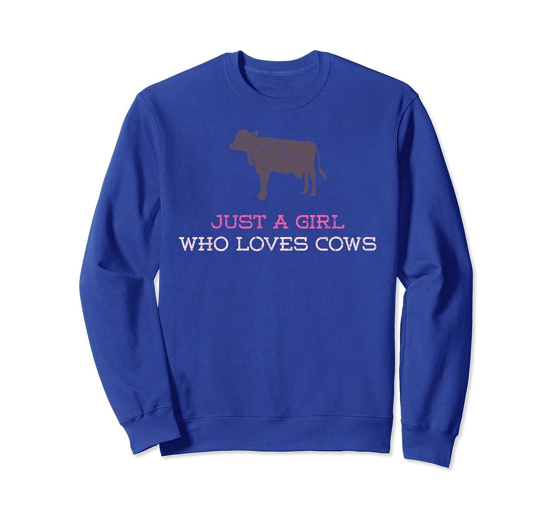 Just A Girl Who Loves Cows Farm Barn Distressed Sweatshirt-AZP