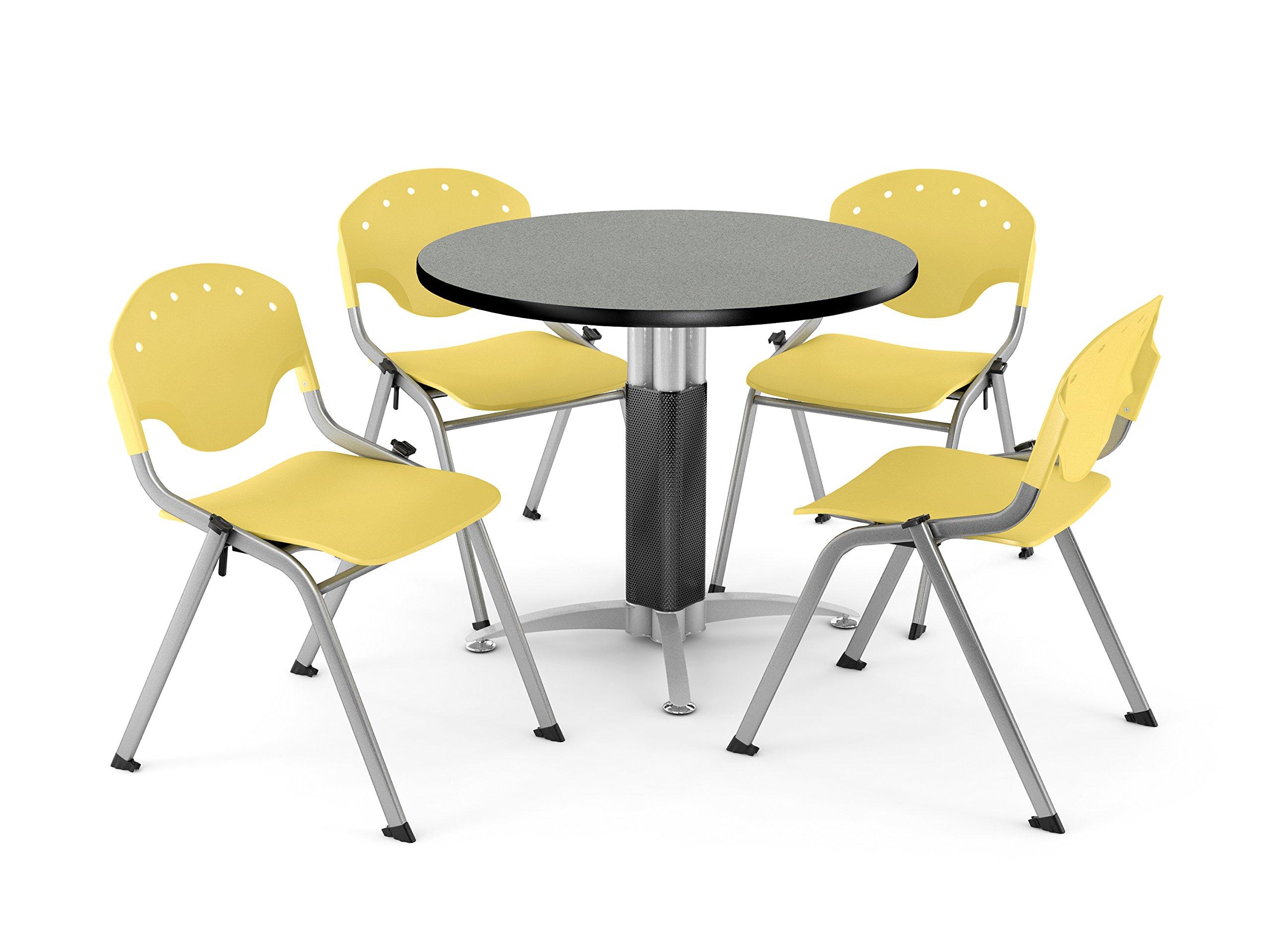 OFM PKG-BRK-021-0010 Breakroom Package, Gray Nebula Table/Lemon Yellow Chair by OFM