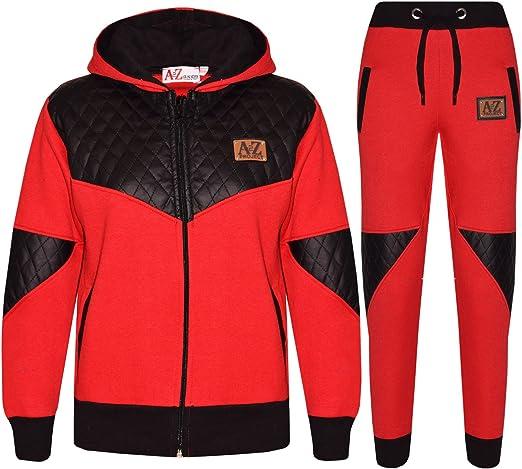 Kids Boys DL Project Contrast Button Hooded Sweatshirt Jogging Bottoms Tracksuit