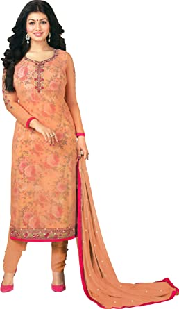 Exotic India Peach Ayesha Choodidar Kameez - Traje Largo con ...