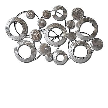 Sesam Decoration Wanddeko, Metall, Grau Silber, 104 X 65 X 5 Cm
